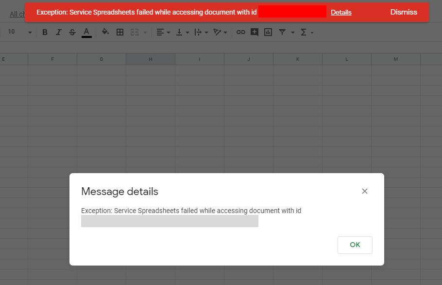 Service Spreadsheet Failed